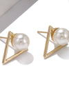 Geometric Triangle Pearl Stud Earrings