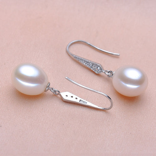Real 925 Sterling Silver Teardrop Pearl Earrings
