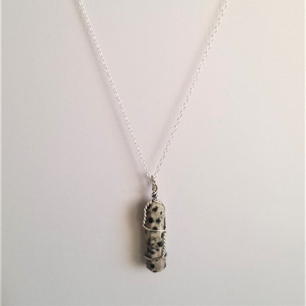 DALMATIAN JASPER DOUBLE TERMINATED COIL WRAPPED NECKLACE - SILVER