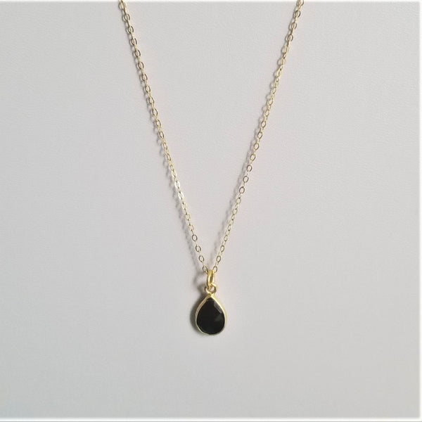 BLACK SPINEL TEARDROP PENDANT - GOLD