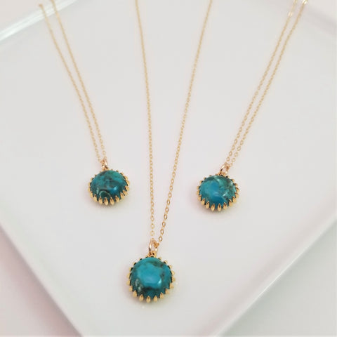 Turquoise Bezel Necklace - Gold
