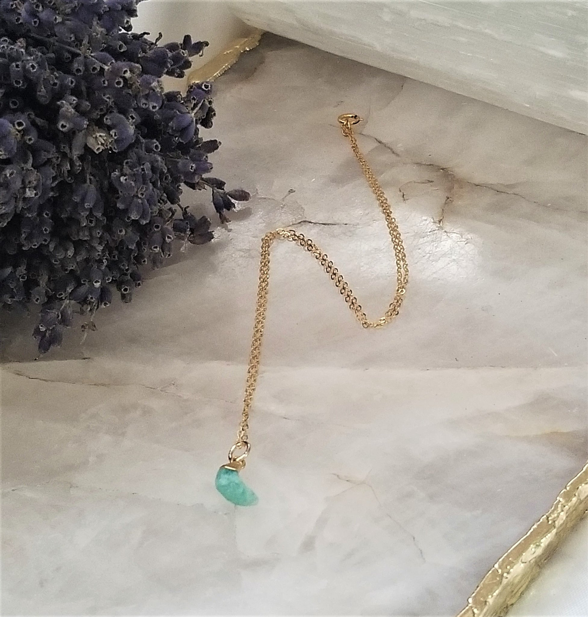 AMAZONITE CRESCENT MOON NECKLACE - GOLD