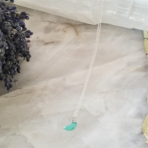 AMAZONITE CRESCENT MOON NECKLACE - SILVER