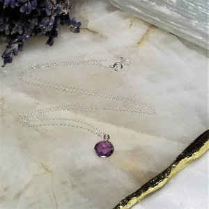 AMETHYST BEZEL NECKLACE - SILVER