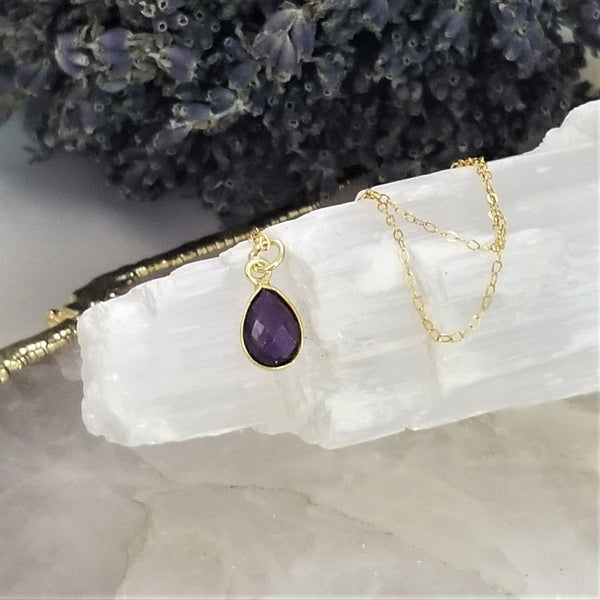 AMETHYST TEAR DROP NECKLACE - GOLD