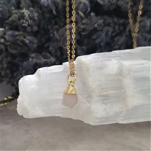 PINK DRUZY ROUGH NECKLACE - GOLD