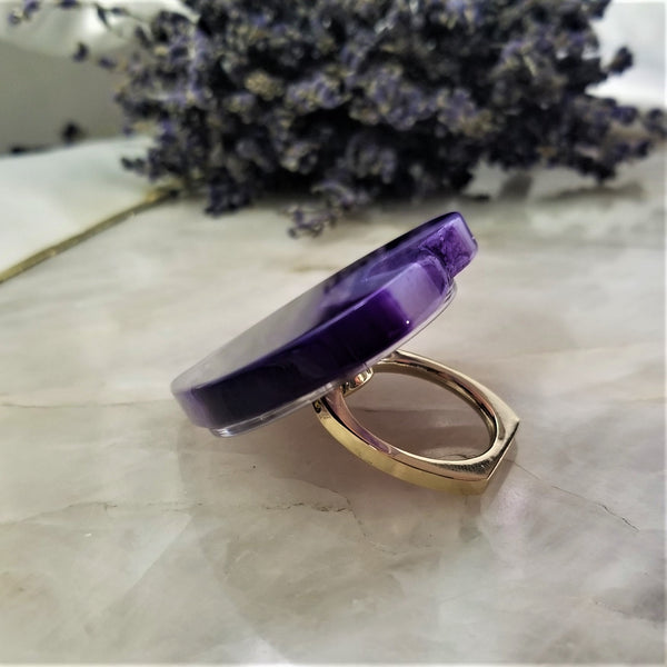 Purple Agate Heart Phone Grip