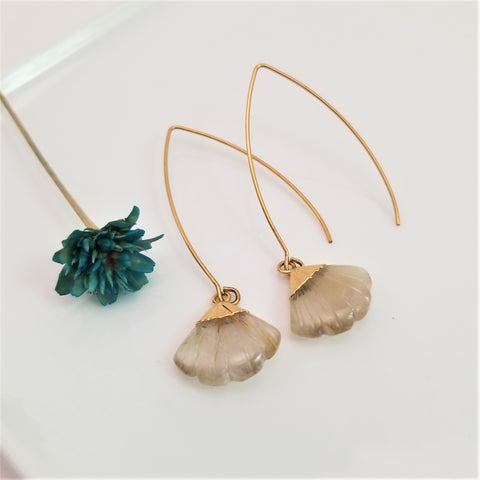 Rutilated Quartz Flare Dangling Earrings