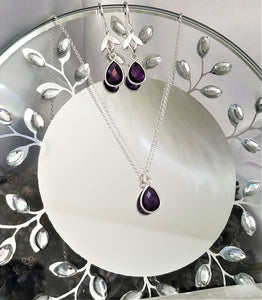 Amethyst Teardrop Necklace & Earring Set