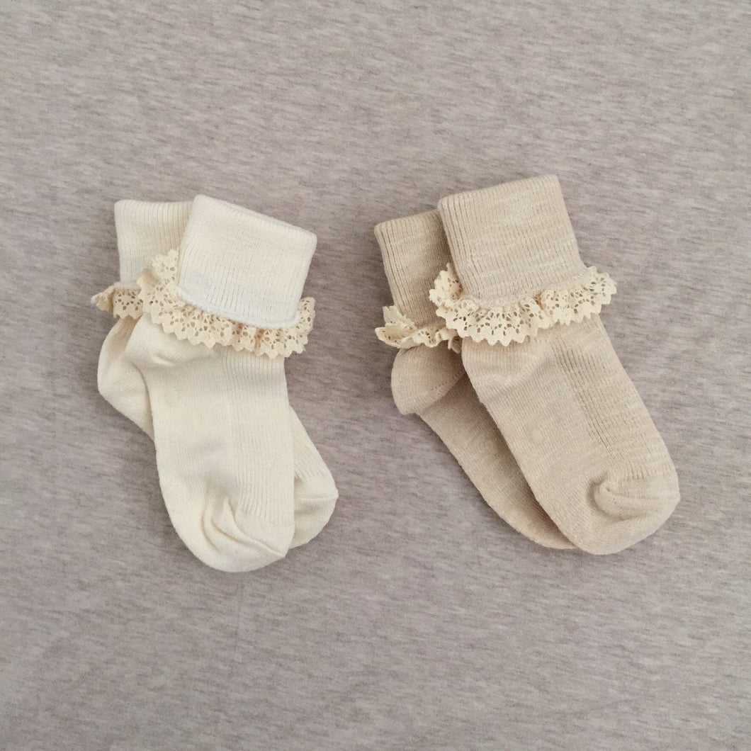 Lace-trimmed Dress Socks (2 pairs set)