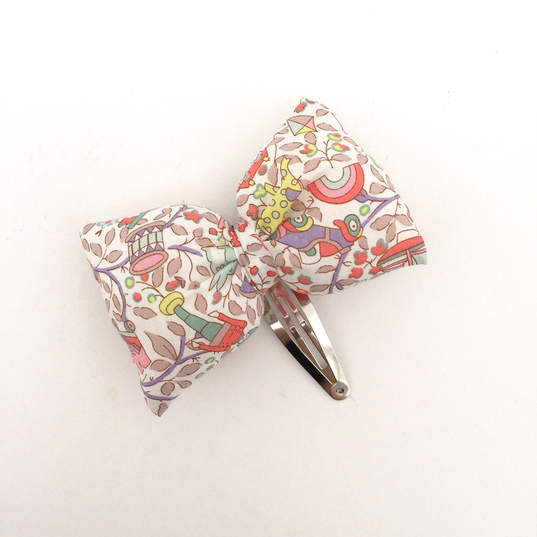 Puffy bow Hair Slide, pink toy garden