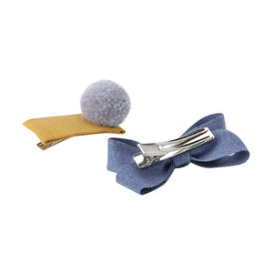 Pom Pom and Bow Hair Slides - Grey/Blue