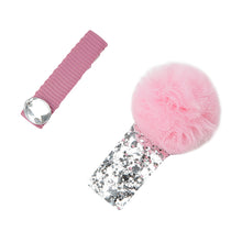 Pom Pom and Jewel Hair Slides - Pink/Silver