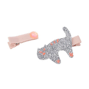 Orange Kitty Hair Slides