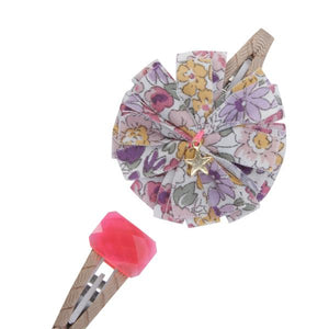Jewel and Flower Hair Slides - Pink