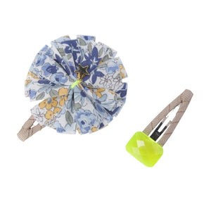 Jewel and Flower Hair Slides - Blue