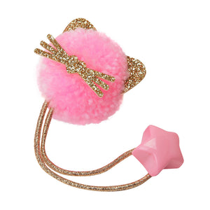 Kitty pom pom hair tie - Pink