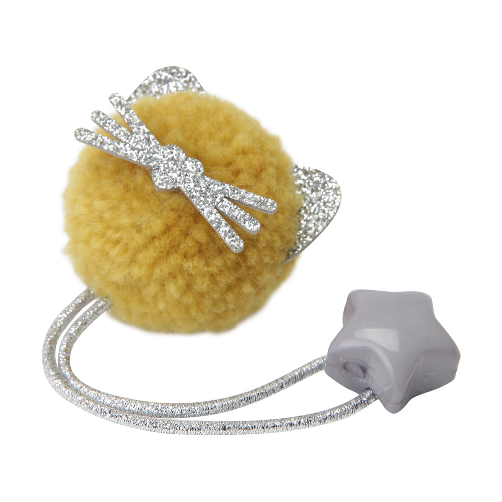 Kitty pom pom hair tie - Mustard
