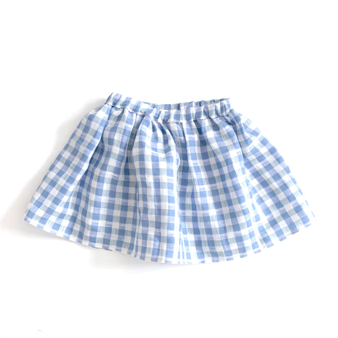 Blue Gingham Linen Skirt