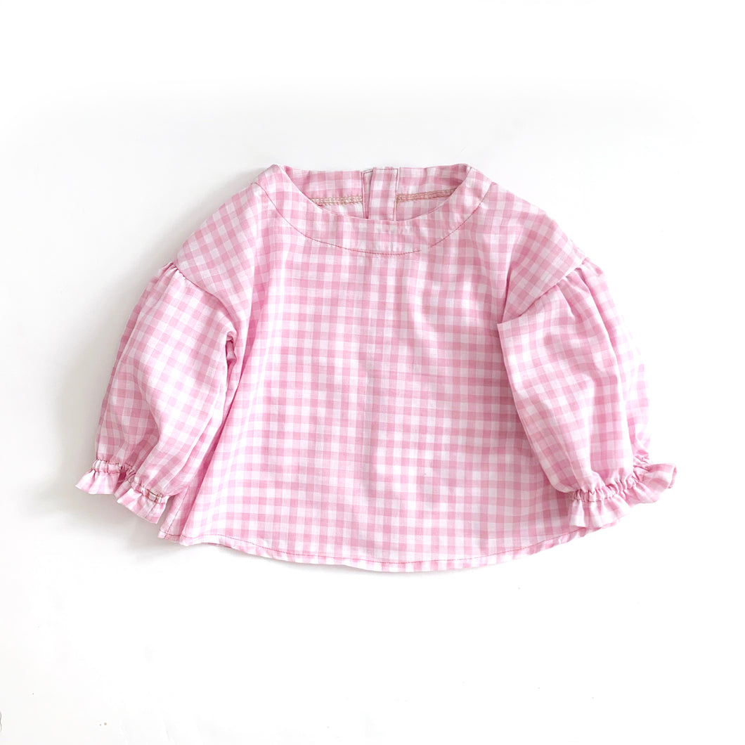 Tula Blouse, pink gingham