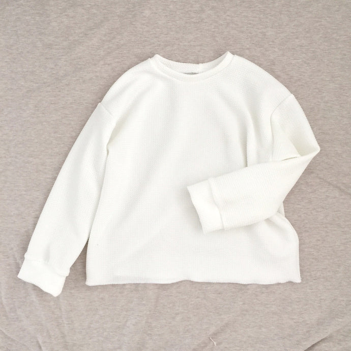 Pique Knit Pullover, white
