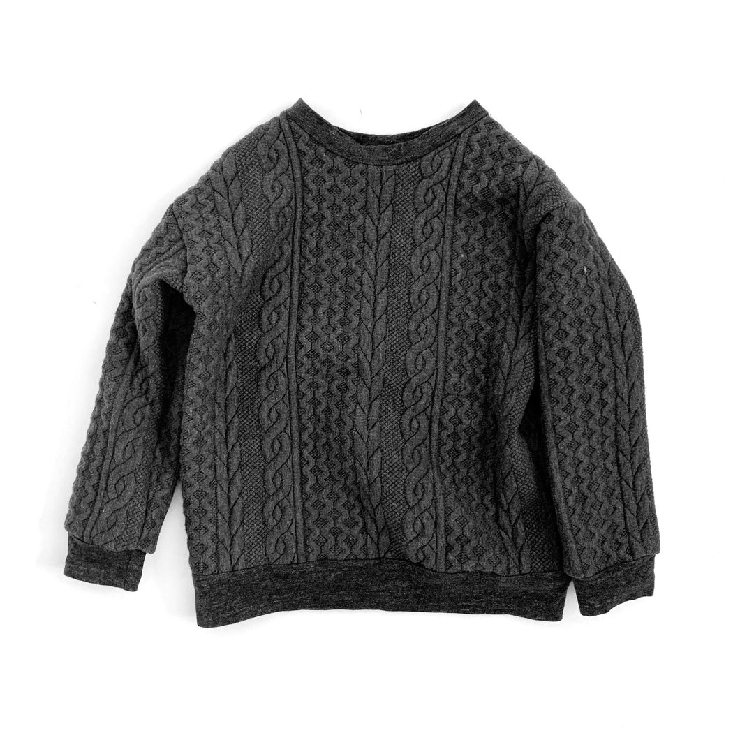 Cable Knit Pullover, black