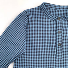 Henley Boy Shirts, blue/black gingham