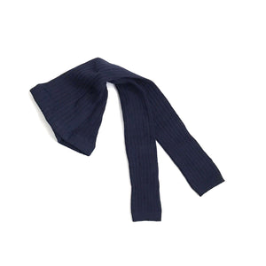 Ribbed Footless Tights - Navy