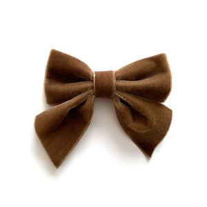 Velvet Bow hair clips (cement grey)