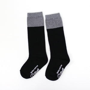 Two Tone Sparkle Socks - Black/Silver