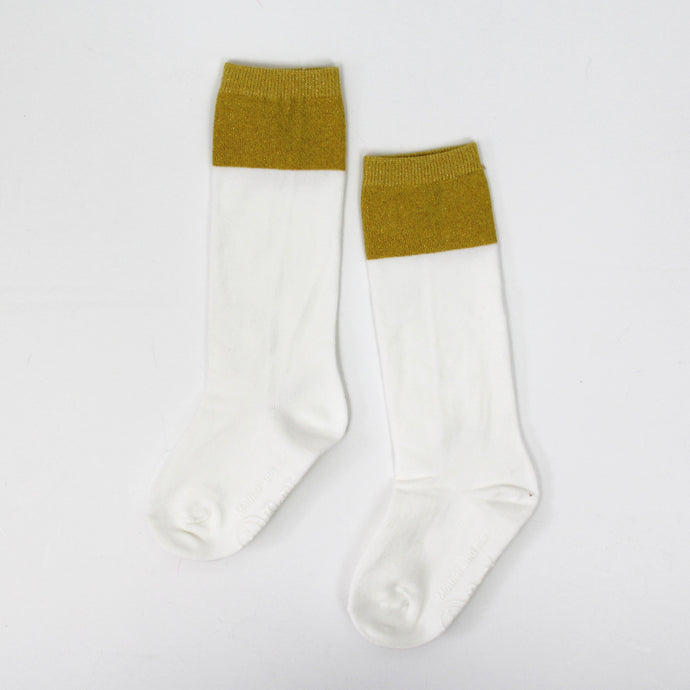 Two Tone Sparkle Socks - Ivory/Gold