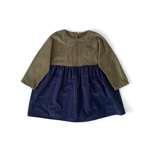 Miri Bicolor Dress (Army Green/Navy)
