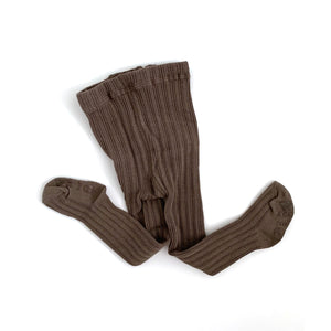 Solid Ribbed Tights - Taupe