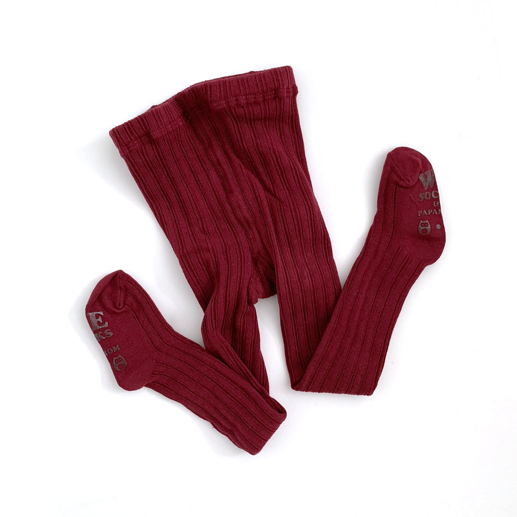 Solid Ribbed Tights - Merlot