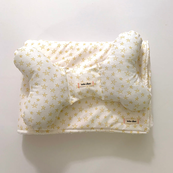 Stroller Blanket & Pillow Set - mustard star