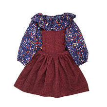 Clio Pinafore Dress (Redwood Herringbone Flannel) - Girls