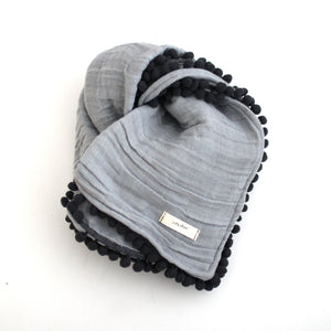 Muslin Pom Pom Stroller Blanket (Light Grey/Charcoal)