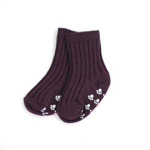 Ribbed Ankle Socks - Grape