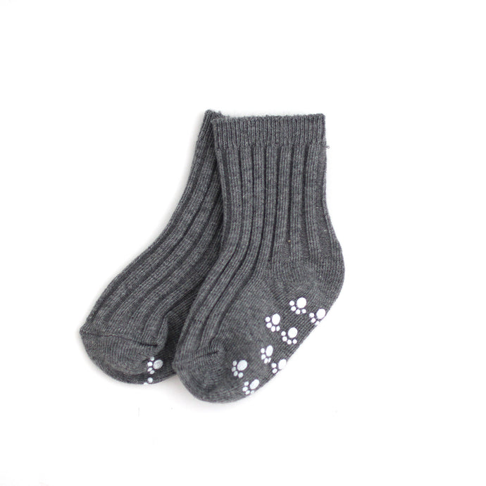 Ribbed Ankle Socks - Gray