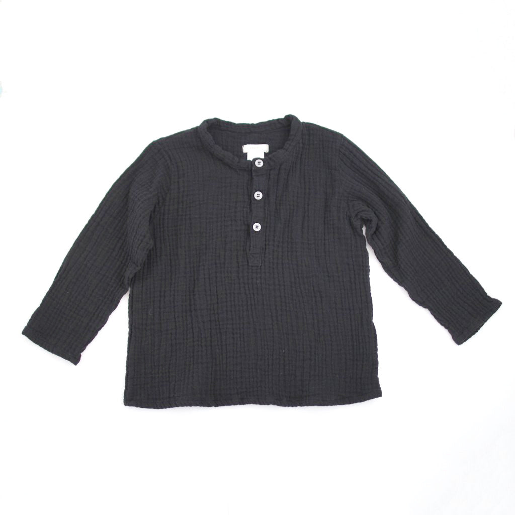 Henley Boy Shirts, black