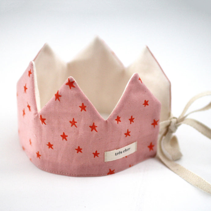 Party Crown - Pink/Orange stars