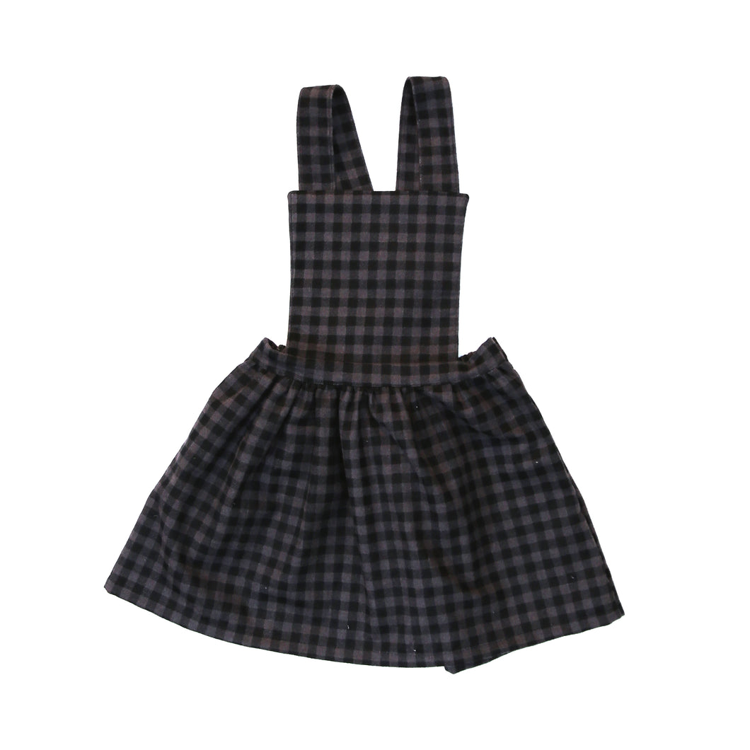 Clio Pinafore Dress (Check Smoke Flannel) - Baby Girl