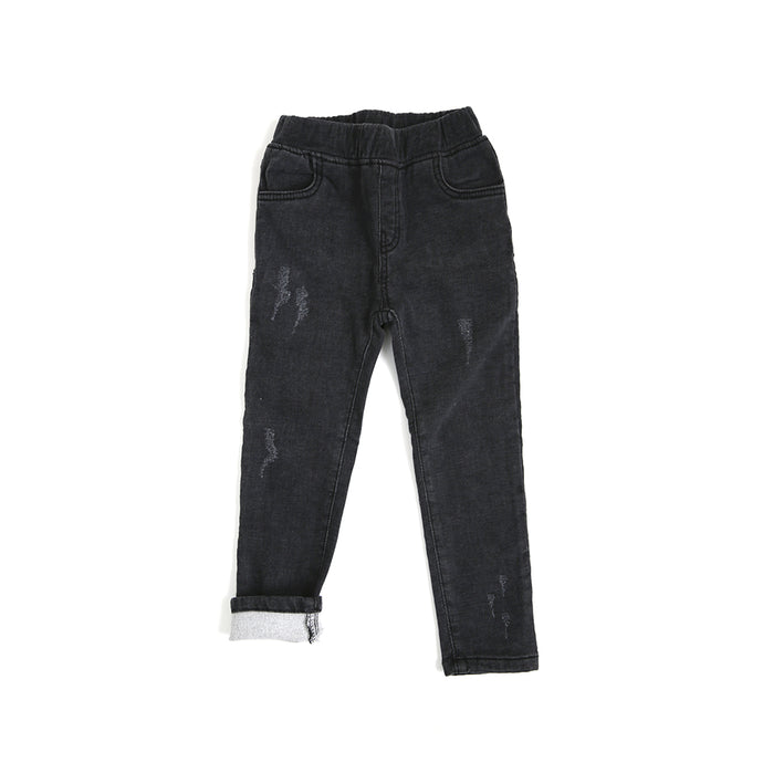 Winter Furry Slim Jeans (distressed black)