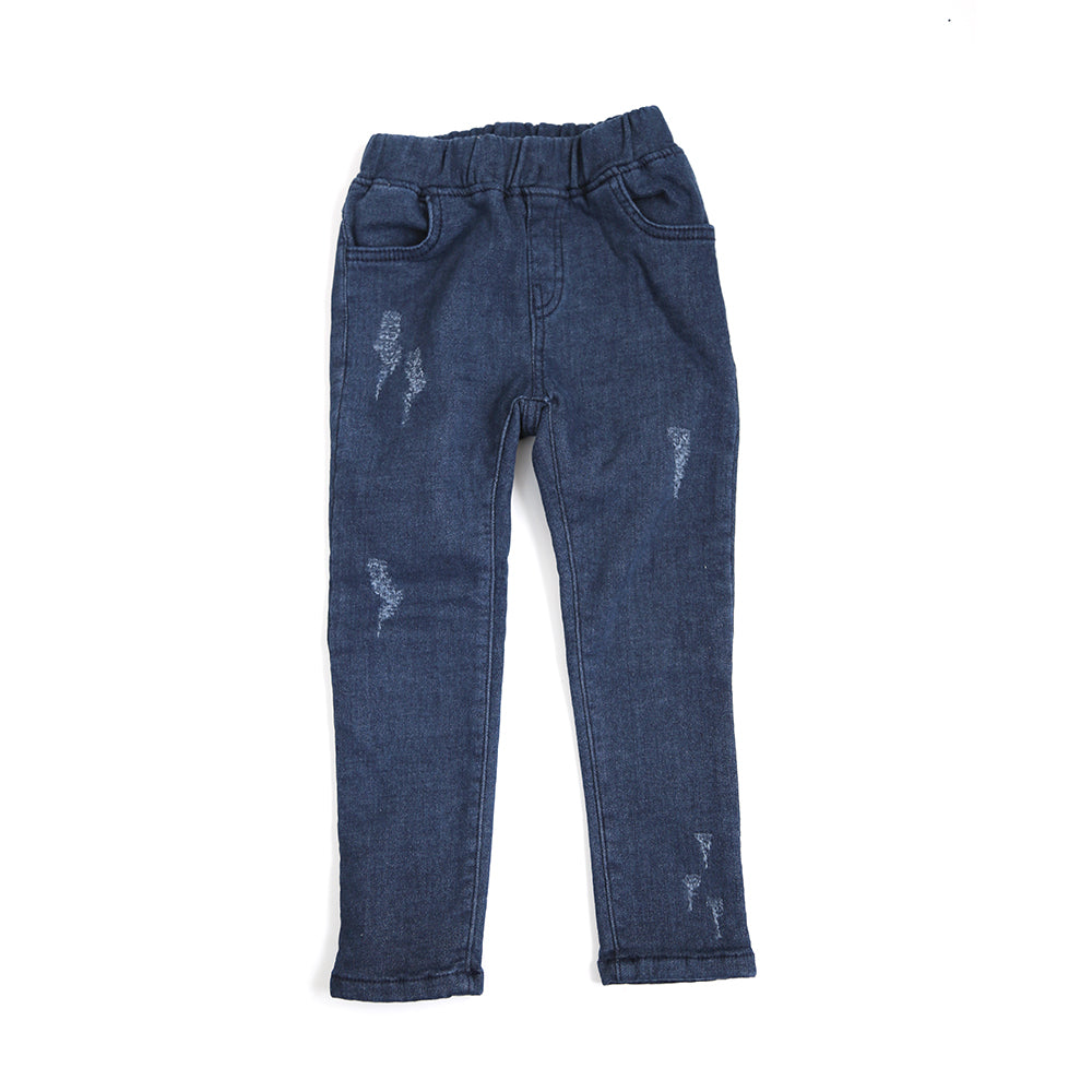 Winter Furry Slim Jeans (distressed indigo)