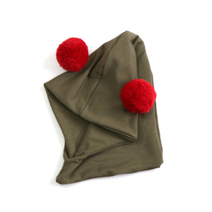 Giant pom hoodie hat - olive
