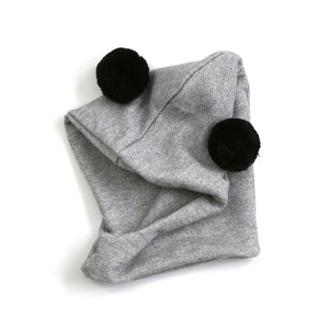 Giant pom hoodie hat - heather grey