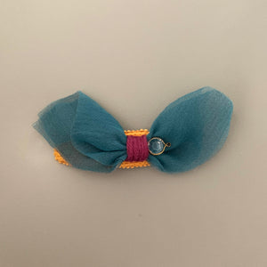 Knit pom pom hair slide (teal butterfly)