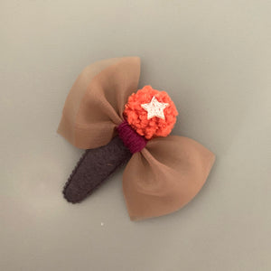Knit pom pom hair slide (orange)