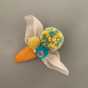 Knit pom pom hair slide (mustard)