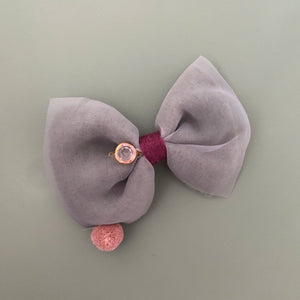 Knit pom pom hair slide (purple)
